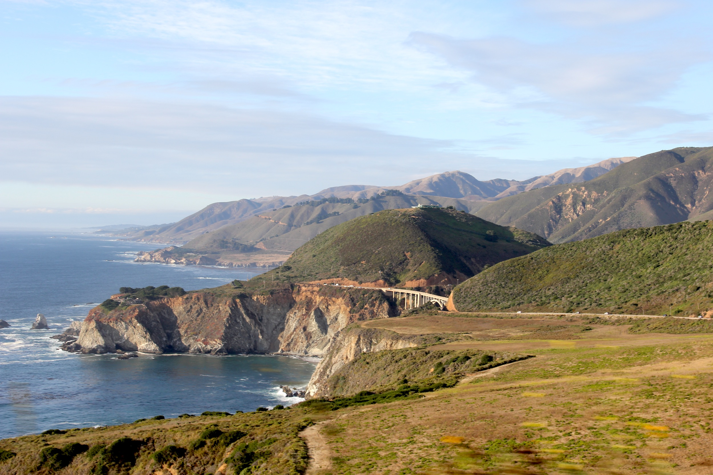 Driving through Big Sur, Bixby Bridge in background